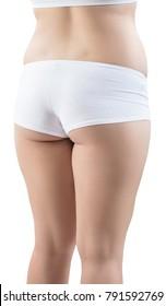 Fatty female buttocks in white underwear.