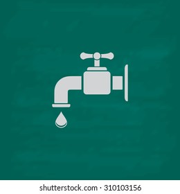 Faucet.  Icon. Imitation draw with white chalk on green chalkboard. Flat Pictogram and School board background. Illustration symbol