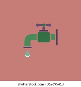 Faucet. Simple flat color icon on colorful background