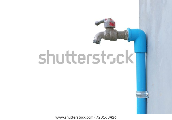 Faucet Water Attach Cement Wall On Stock Photo (Edit Now