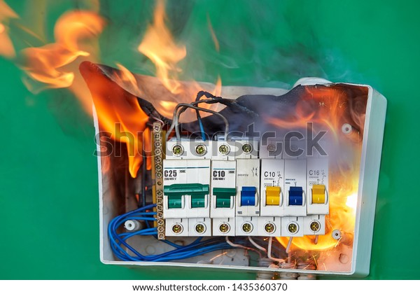 Faulty Wiring Became Cause Distribution Board Stock Photo Edit Now 1435360370