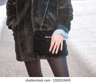 Faux fur coat with hand bag and ring