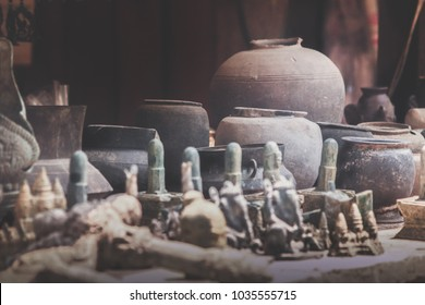 faux khmer artifacts sold in souvenir shops in Phnom Kulen, Cambodia