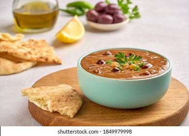 Fava beans dip, traditional egyptian, middle eastern food foul medames