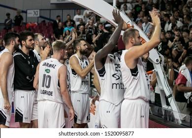 Favaro Veneto - Venezia - Palazzetto Taliercio, Italy, October 01 2019 happiness of partizan  during Umana Reyer Venezia Vs Partizan Nis Belgrade  Basketball EuroCup Championship
