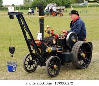 "Faversham, Kent / UK - 05/06/2019: 2015 Miniature 4"" McLaren traction engine at the 2019 Merton Vintage Show."