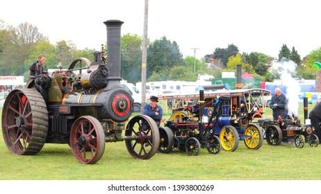 Faversham, Kent / UK - 05/06/2019: Traction engines at the 2019 Merton Vintage Show.