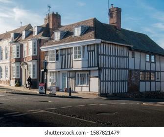Faversham, Kent, UK, November 2019 - Ancient timber framed building in the medieval market town of  Faversham, Kent, UK