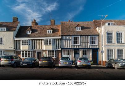 Faversham, Kent, UK, November 2019 - Ancient timber framed buildings in the medieval market town of  Faversham, Kent, UK