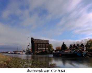 Faversham, Suffolk, UK, November 2016. Derelict warehouse, Oyster Bay House on Faversham Creek. The light was just great and shows off the historic building Oyster Bay House a former hop store.