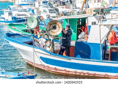 FAVIGNANA, ITALY – 30 MARCH 2018: Fishing Harbour of Favignana in Sicily, Italy