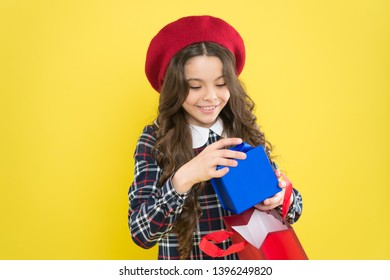 Favorite brands hottest trends. Girl with shopping bag. Explore fashion industry. Shopping and purchase. Black friday. Sale discount. Shopping day. Little french lady adore shopping. Birthday girl.
