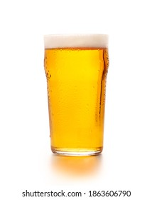 Favorite craft drink, beer style and business. Cold full glass goblet of light craft lager with foam and flowing drops, isolated on white background, cut out, close up, copy space, studio shot - Shutterstock ID 1863606790