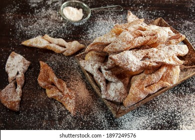 Faworki (angel wings) sprinkled with powdered sugar - traditional Polish carnival delicacy