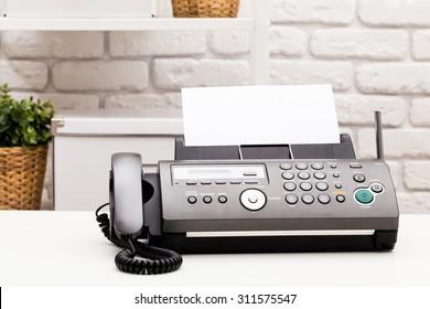 Fax machine close up, office equipment