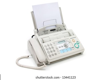Fax machine isolated on white