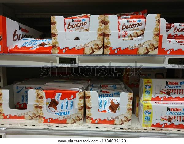 Fayet France03062019kinder Confectionery Auchan Supermarket