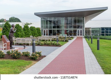FAYETTEVILLE, AR/USA - JUNE 7, 2018: Fred W. Smith Football Center on the campus of the University of Arkansas.