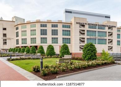 FAYETTEVILLE, AR/USA - JUNE 7, 2018: Donald W. Reynolds Razorback Stadium and Frank Broyles Field.
