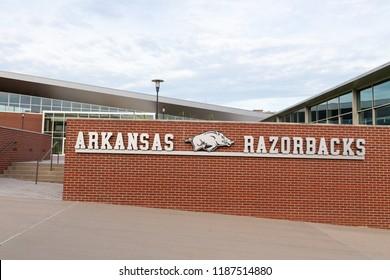 FAYETTEVILLE, AR/USA - JUNE 7, 2018: Arkansas Razorback sports logo on the campus of the University of Arkansas.