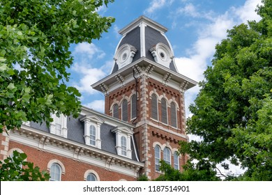 FAYETTEVILLE, AR/USA - JUNE 8, 2018: University Hall at Old Main on the campus of the University of Arkansas.