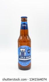 Fayetteville , North Carolina / USA - March 13 2019 : Samuel Adams Cold Snap seasonal beer in winter with white background.