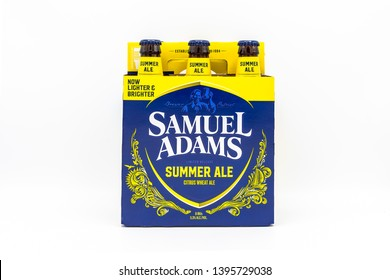 Fayetteville , North Carolina / USA - May 10 2019 : Pack of Samuel Adams Summer Ale beer on white background.