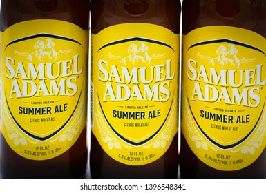 Fayetteville , North Carolina / USA - May 10 2019 : Bottles of Samuel Adams Summer Ale beer on white background.