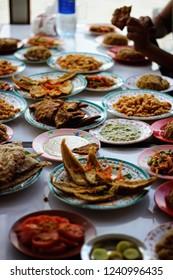 fayoum Egypt April 12 2018 having food on the Quaroon lake