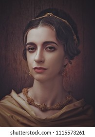 Fayumi portraiture. Antique painting style female portrait with retro makeup