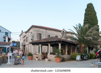 Fazana, Croatia - July 28, 2018: View of an old church in Fazana, where today souvenirs are sold to tourists. Istria. Croatia.