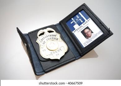 An FBI badge on a table.