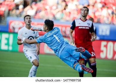 FC Dallas goalkeeper Jesse Gonzalez (1) during a MLS match between Minnesota United FC and FC Dallas August 10, 2019, at Toyota Stadium, Frisco, Texas.