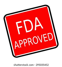 FDA Approved white stamp text on red background