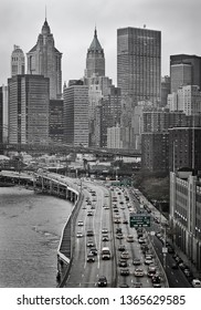 FDR Drive photographed from the Manhattan Bridge in Black and White