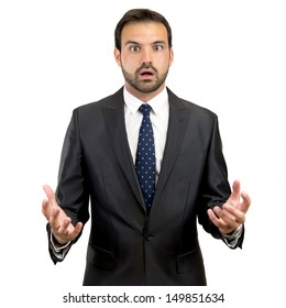 fear business man over isolated white background