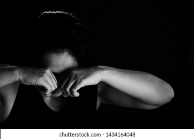 Fear, loneliness, depression, abuse, addiction  concept about violence against women