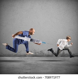 Fear of the vaccine concept with running child