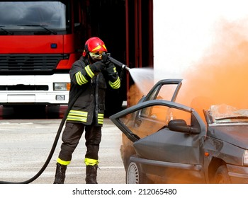 fearless fireman extinguishes the fire after car accident 2