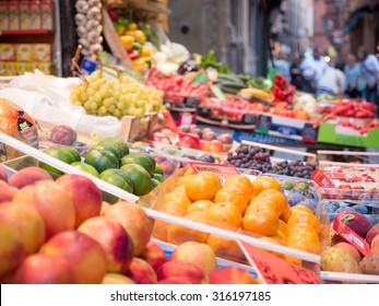 Feast of fruit and vegetables in the center of Bologna, Italy.