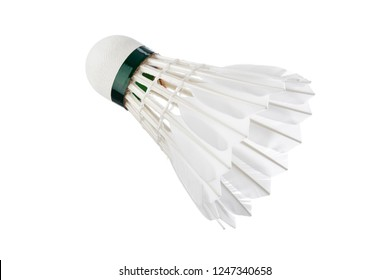 Feather badminton shuttlecock isolated on white background