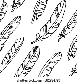 Feather black and white seamless background