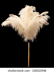 Feather duster made from real ostrich feathers - isolated on black background