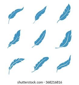 Feather icons set isolated on white background