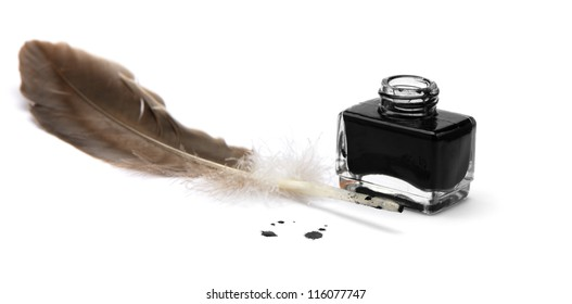 Feather pen set of abstract colour. Isolated on a white background.