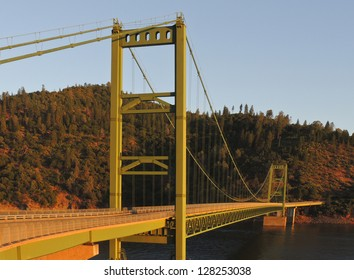 The Feather River suspension bridge over Lake Oroville near Oroville, California.