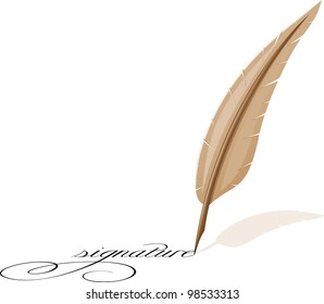 feather and signature illustration