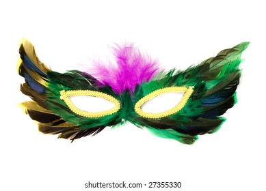 A feathered masquerade mask, isolated against a white background
