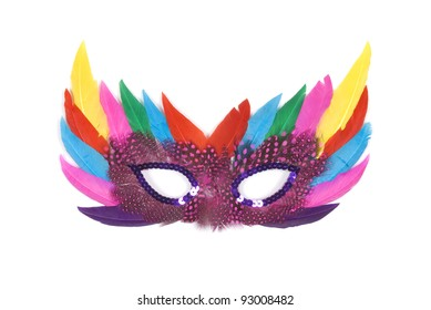 Feathered masquerade mask on white background