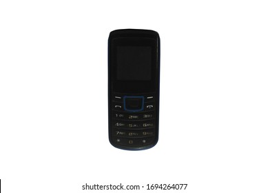 Feature phone isolated on white background, feature phone on top view, mobile phone features are sometimes called dumbphones.
